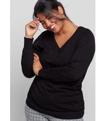 lane bryant women's v-neck ruched side sweater 22/24 black