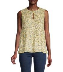 max studio women's sleeveless pleated floral top - cream yellow combo - size s