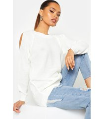 cold shoulder moss stitch sweater, cream