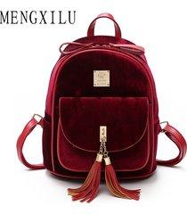 mochilas/ mochila de terciopelo mujeres borlas mochilas-rojo