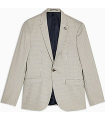mens grey stone mini check single breasted skinny fit suit blazer with notch lapels
