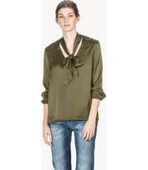 lilla p satin tie neck blouse