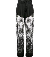 fleur du mal cillis lace pajama trousers - black
