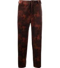 ann demeulemeester tie-dye straight trousers - pink