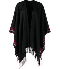 alexander mcqueen tassel trim shawl cape - black