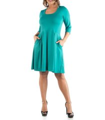 24seven comfort apparel women's plus size fit and flare dress