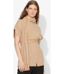 proenza schouler draped scarf cashmere short sleeve knit pullover camel melange/neutrals s