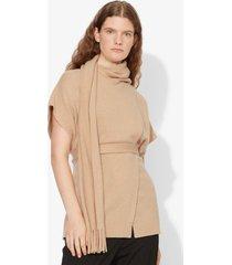 proenza schouler draped scarf cashmere short sleeve knit pullover camel melange/neutrals s