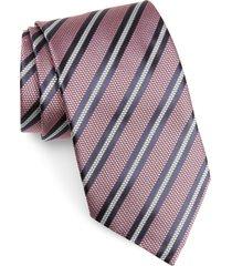 men's ermenegildo zegna stripe silk tie, size large - pink