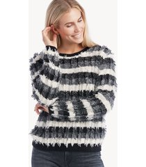 vince camuto women's striped fringe sweater in color: antique white size large from sole society