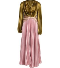 pleated liquid satin gown