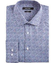 nine west men's slim-fit wrinkle-free performance stretch blue & red floral print dress shirt