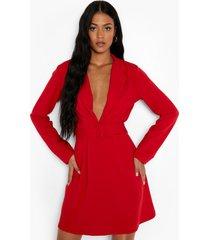 tall crêpe scuba blazer skater jurk, red