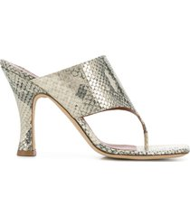 paris texas snakeskin effect thong strap sandals - neutrals