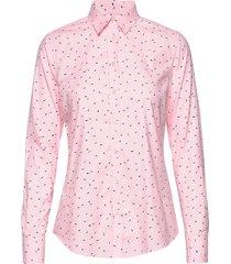 d2. lure printed stretch oxf shirt overhemd met lange mouwen roze gant