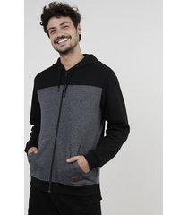 blusão masculino em moletom felpado com recorte e capuz preto