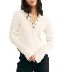 women's free people everest long sleeve henley top, size x-large - ivory