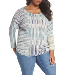 plus size women's nic+zoe sea wall stripe scoop neck top