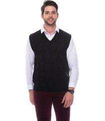 colete passion tricot losango relevo preto