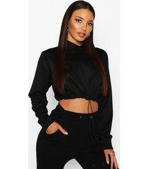 drawcord cropped hoodie, black