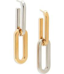 two-tone chain link drop earrings