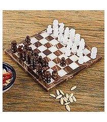 onyx mini chess set, 'chocolate and milk' (mexico)