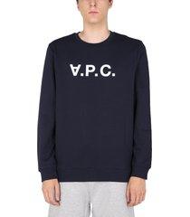 a.p.c. crew neck sweatshirt with flocked logo print