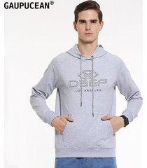 sudaderas con capucha manga larga casual cuello-o carta gaupucean para hombre-gris