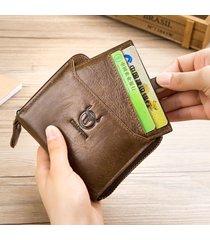 bullcaptain vintage portafoglio in pelle di vitello con zip con 9 card slot portqamonete