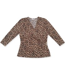 charter club 3/4-sleeve crossover v-neck blouse, created for macy's