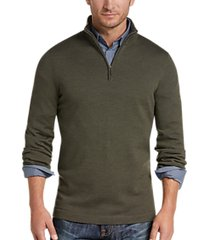 joseph abboud olive 1/4 zip mock neck wool sweater
