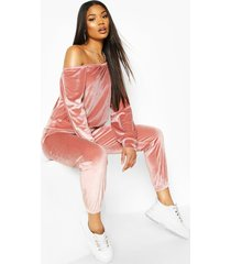velour oversized sweat top, rose