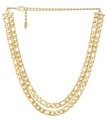 double gold plated figaro chain link necklace