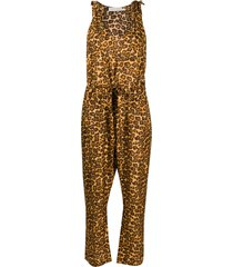 zimmermann amelie leopard print jumpsuit - brown