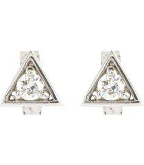 'deco' diamond triangle 10k white gold earrings