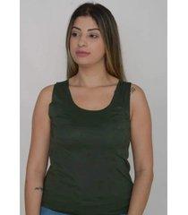 blusa regata tecido suede feminina - verde militar - feminino - dafiti