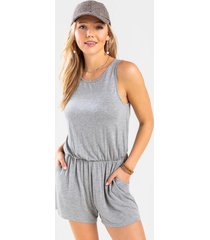 calley front pocket knit romper - heather gray