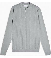 mens grey pointelle zip sweater