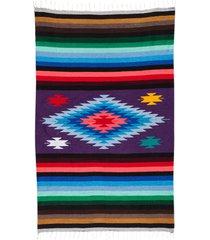 native yoga super diamond mexican blanket purple cotton