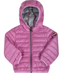 colmar purple jacket for babygirl with iconic logo