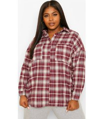 plus geruite oversized boyfriend blouse, mauve