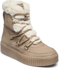 tommy warm lined lace up bootie shoes boots ankle boots ankle boot - flat beige tommy hilfiger