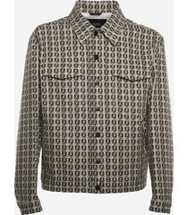 fendi oversized jacket with all-over ff motif