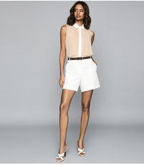 reiss alva - gather detailed sleeveless blouse in nude, womens, size 12