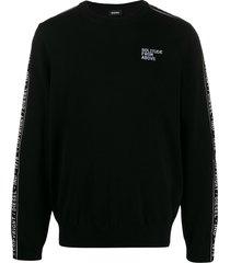 diesel vanisé-knit logo bands sweatshirt - black