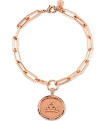 disney princess crown link bracelet in fine silver plated rose gold