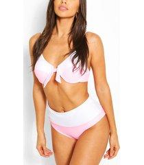 colourblocking bikini met hoge taille en beugel, roze