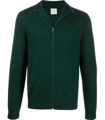 paul smith zip-up merino wool cardigan - green