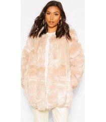oversized luxe faux fur jas met panelen, sand