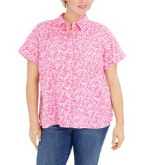 tommy hilfiger plus size floral-print button-down camp shirt, created for macy's